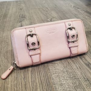 Coach Blush Pink Buckle Zip Accordion Wallet